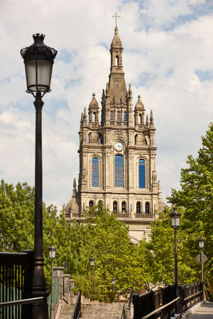 Bilbao Begona cathedral bell tower facade. Basque country heritage. Spain