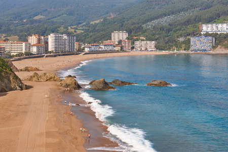 Spanish traditional basque coastline country beach of Bakio. Spain tourism