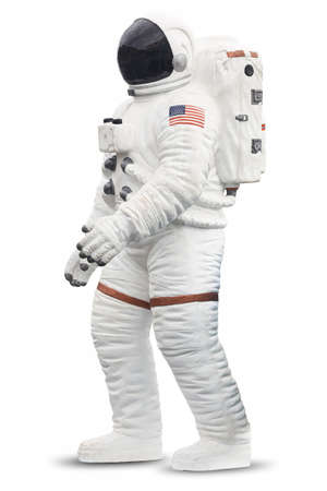 Astronaut spaceman suit with helmet isolated on white. Vertical