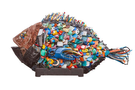 Recycled plastic waste. Environment pollution garbage. Reuse and recycle Stockfoto