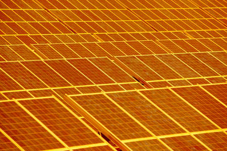 Solar panel plant. Sustainable renewable power energy and global warming