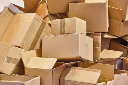 Several cardboard boxes ready to be recycled. Sustainable environment