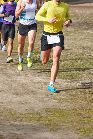 Cross country runners on a race. Active healthy outdoor lifestyle