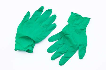 Covid-19 disposable contaminated gloves. Coronavirus latex plastic rubbish. Pandemic