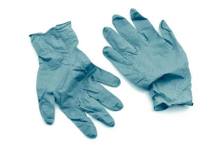 Covid-19 disposable contaminated gloves. Coronavirus latex plastic rubbish. Pandemic 版權商用圖片
