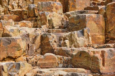 Basalt block rock formation in Feroe islands. Geology volcanic mineral