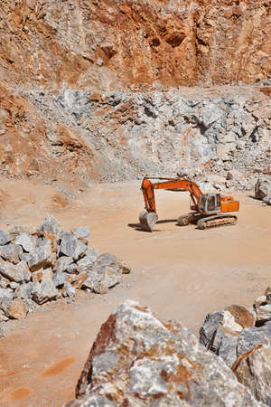 Heavy excavator on a quarry. Excavation machinery. Earthmover Stock Photo