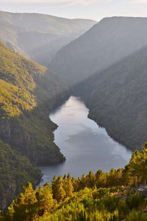 Ribeira sacra landscape and river Sil banks sunset. Galicia, Spain