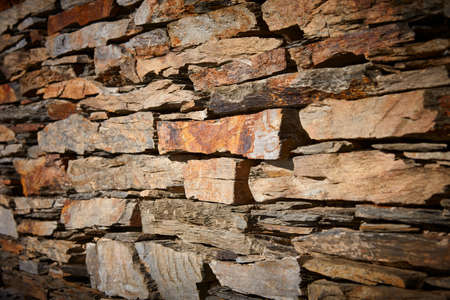 Slate stone textured wall background. Construction material. Horizontal copyspace Stock Photo