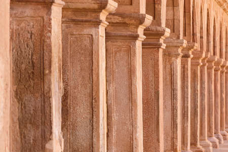 Antique columns in Villanueva de los Infantes. Quixote route. Spain Stock Photo