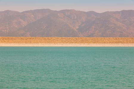 Reservoir with turquoise water and mountains landscape in Murcia, Spain