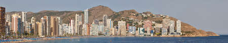Spanish tourist coastline skyline panoramic view in Alicante, Benidorm. Spain