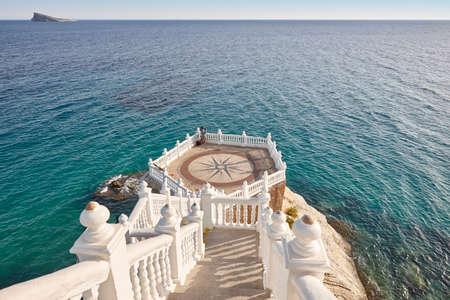 Mediterranean coastline viewpoint in Benidorm. Castell, Alicante. Spain