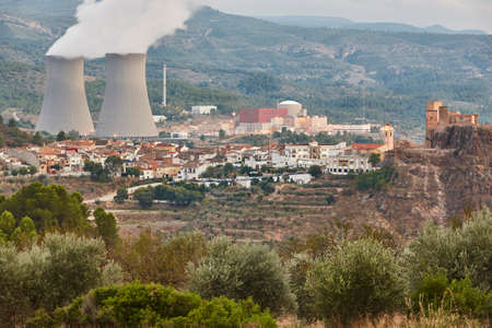 Nuclear power plant chimmey in Cofrentes. Valencia, Spain