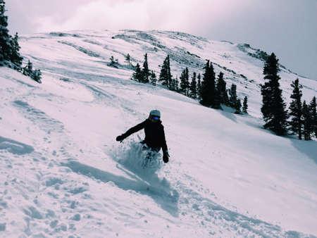 loveland: Snowboarding Loveland Pass, Colorado Stock Photo