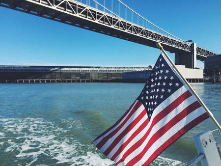 sf: Sailing the SF Bay with and American flag