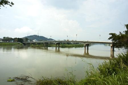 Bridge across the river Ping Nakhon Sawan  photo