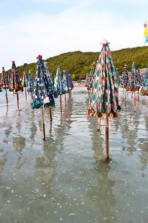 ビーチの傘は海にあります。 私はまだそれを使用していません。