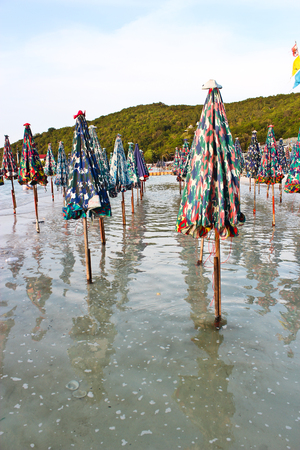Beach umbrellas are in the sea. I have not used it yet. 写真素材