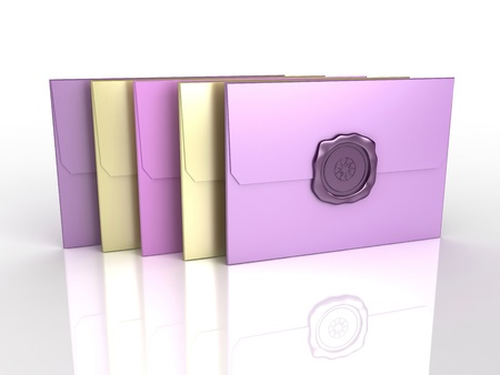 3d render of envelopes with sealing wax photo