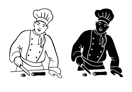vector man cooking sushi