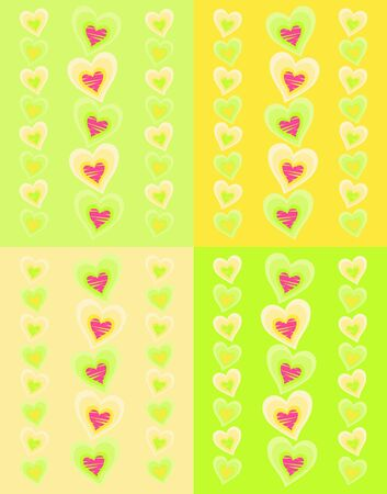 pattern with pink hearts on green and yellow background Vector