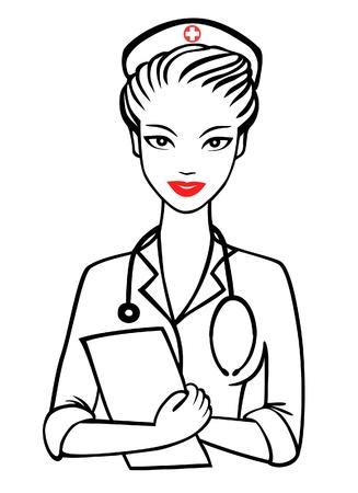 enfermera: vector de la enfermera con una sonrisa Vectores