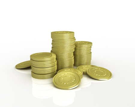 3d golden coins on white background photo