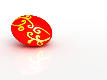 3d red easter eggs with golden ornament photo