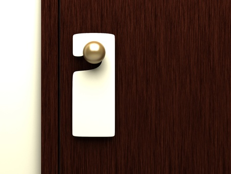 room door: blank sign on the door handle- 3d illustration