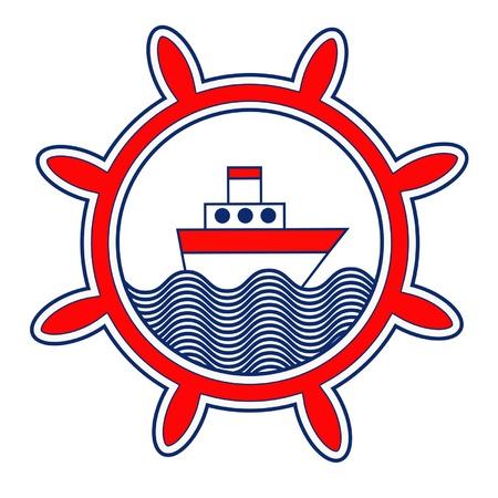 ventana ojo de buey: ojo de buey con barco Vectores