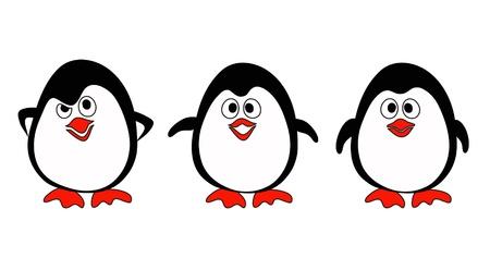 Illustraiton of penguins on white