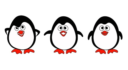 Illustraiton of penguins on white  Vector