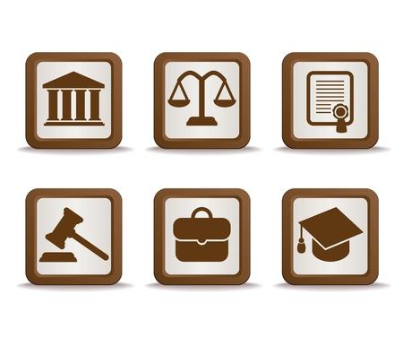 justice scales: Iconos de la ley Vectores