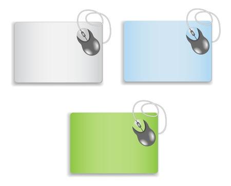 rat�n: rat�n en un mousepad en blanco aislado en un fondo blanco Vectores