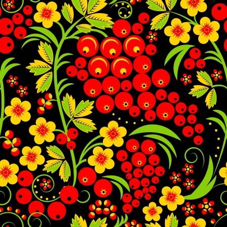black berry: Traditional russian Hohloma style seamless pattern  Vector illustration  Illustration