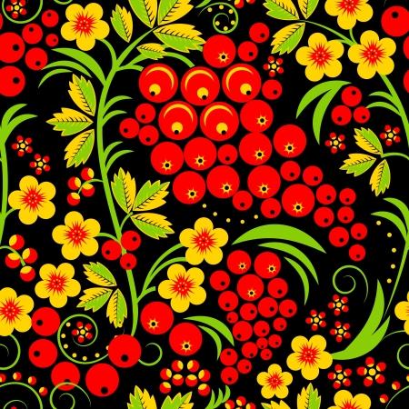 jarzębina: Tradycyjny rosyjski styl Hohloma szwu ilustracji wektorowych Ilustracja