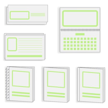 printing icon: a set of polygraph objects, green style