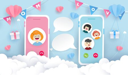 Happy Mother's day background design. Children video call with mom. Happy time concept.