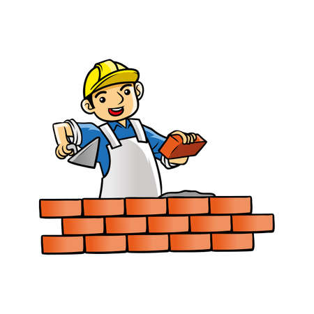 huisbouwer die stenen regelt Vector Illustratie