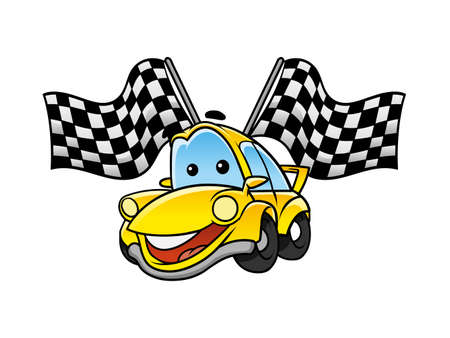 two crossed checkered flags: car race tournament Illustration