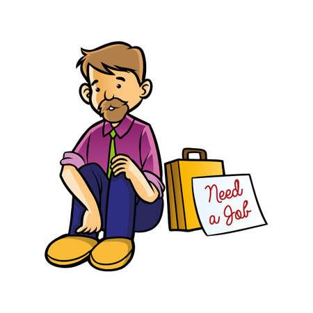 unemployed man with need job sign Illustration