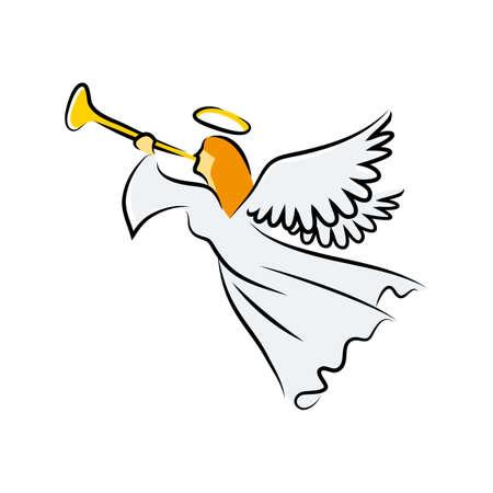Angel souffle la trompette Banque d'images - 71751837