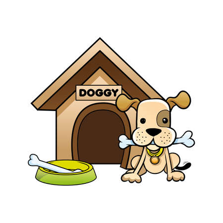 his: doggy and his house Illustration