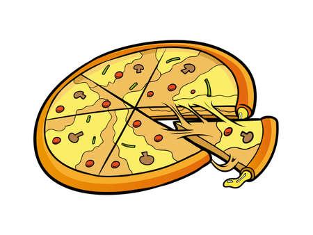 cheesy: sliced pizza Illustration