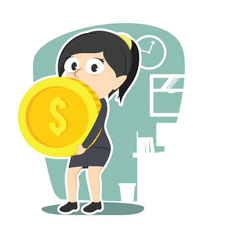 Business woman carrying giant coin.
