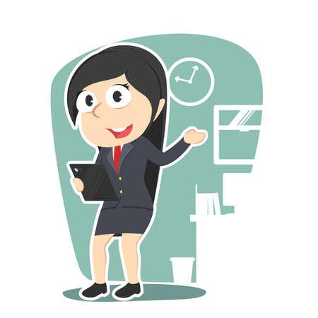 Business woman holding tablet illustration design.