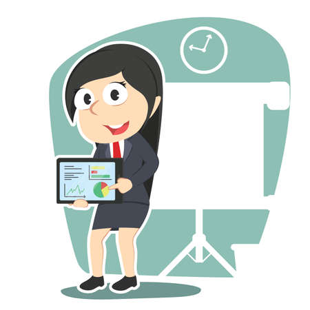 woman tablet: Business woman with presentation tablet. Illustration