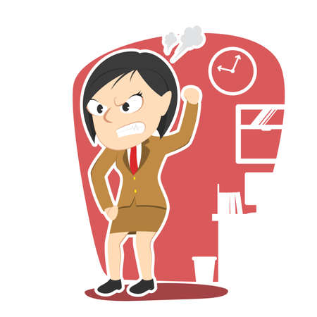 emotional stress: Angry business woman illustration design.