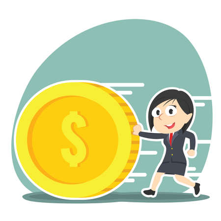 Business woman pushing coin illustration design.